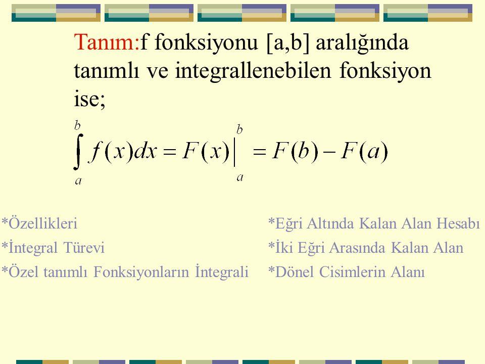 Tanım:f fonksiyonu [a,b] aralığında tanımlı ve integrallenebilen fonksiyon ise;